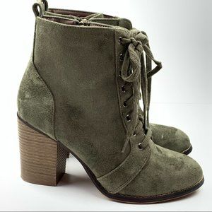 Candies mid calf boots sz 8.5 couture olive green